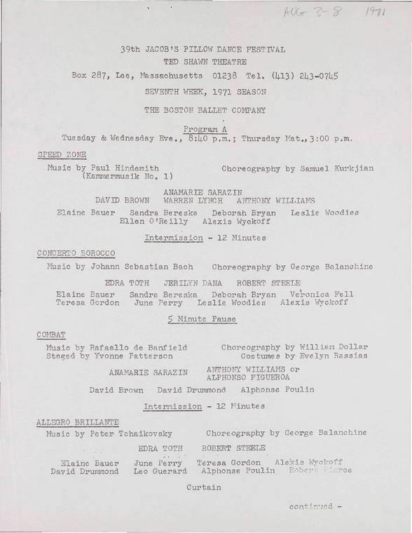 The Boston Ballet, Program A