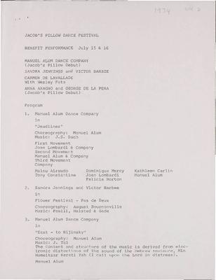 Manuel Alum Dance Company; Sandra Jennings and Victor Barbee; Carmen de Lavallade; Anna Aragno and George de le Pena