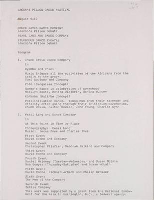 Chuck Davis Dance Company; Pearl Lang and Dance Company; Pilobolus Dance Theatre