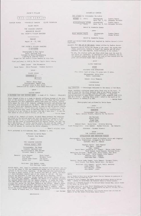 American Sampler: Annabelle Gamson, Barton Mumaw, Clive Thompson, Ellen Kogan, The Vanaver Caravan, Berkshire Ballet, The Jacob's Pillow Dancers
