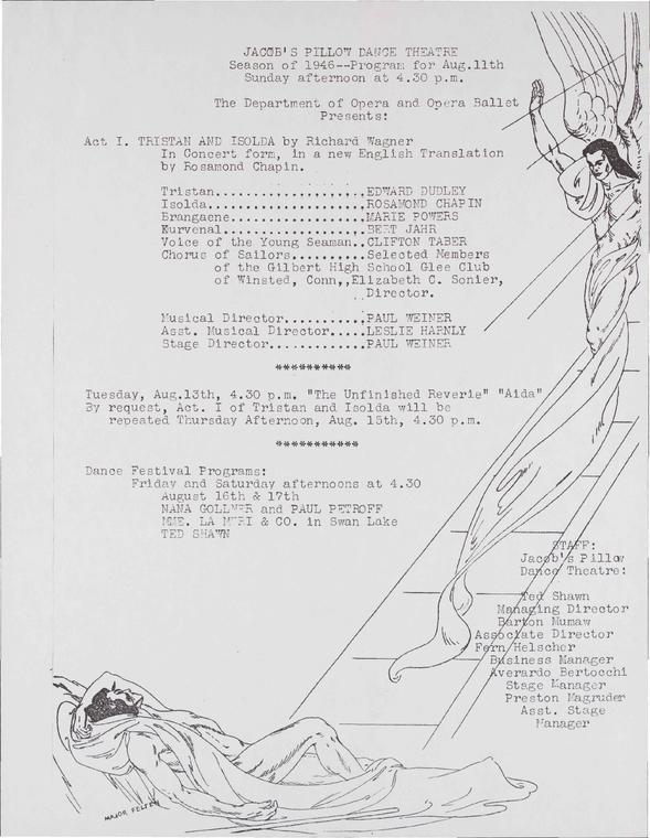 Jacob's Pillow Dance Theatre, Season of 1946 - Program for August 11th