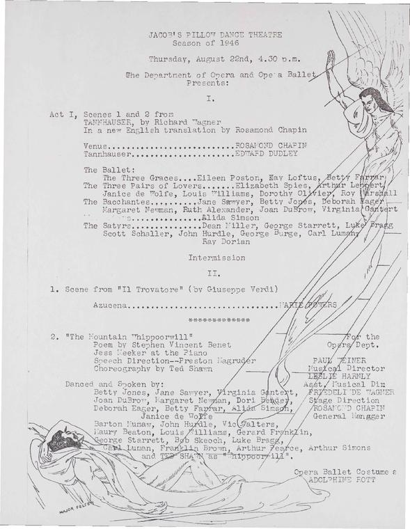 Jacob's Pillow Dance Theatre, Season of 1946: Department of Opera and Opera Ballet