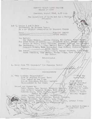 Jacob's Pillow Dance Theatre, Season of 1946: Department of Opera and Opera Ballet