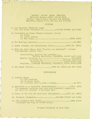 Jacob's Pillow Dance Festival, Eleventh Season - 1952 - Tenth Week