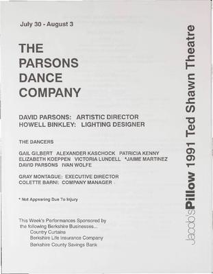 Parsons Dance Company Performance Program