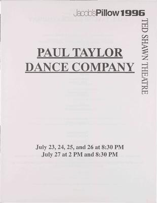 Paul Taylor Dance Company Performance Program