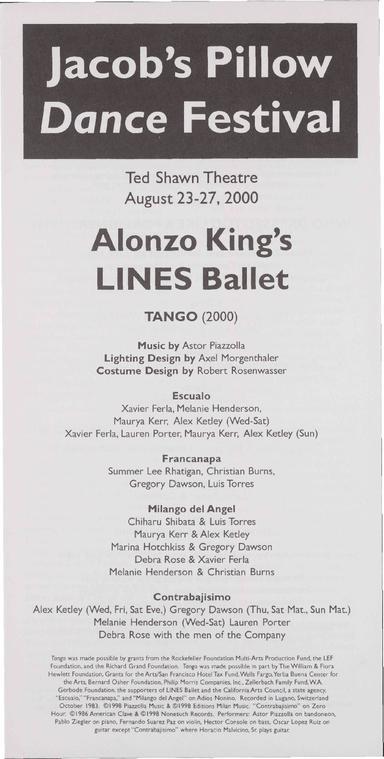 Alonzo King's LINES Ballet Performance Program 2000
