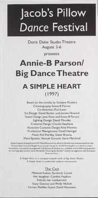 Annie B. Parson/Big Dance Theatre Performance Program 2000