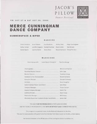 Merce Cunningham Dance Company Performance Program 2000