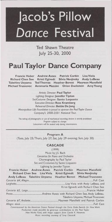 Paul Taylor Dance Company Performance Program 2000
