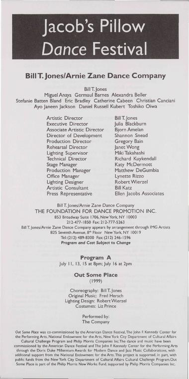 Bill T. Jones/Arnie Zane Company Performance Program 2000