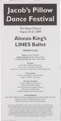 Alonzo King's LINES Ballet Performance Program 2000