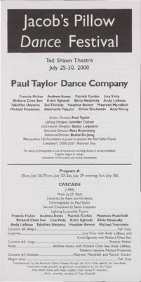 Paul Taylor Dance Company Performance Program 2000