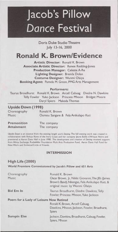Ronald K. Brown/Evidence Performance Program 2000
