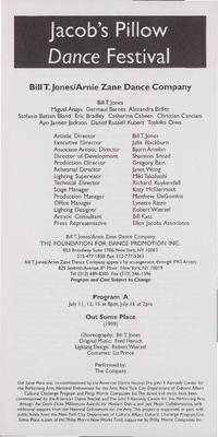 Bill T. Jones/Arnie Zane Company Performance Program 2000