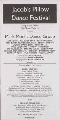 Mark Morris Dance Group Performance Program 2000
