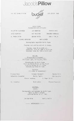 Garth Fagan's Bucket Dance Theatre Performance Program 1985
