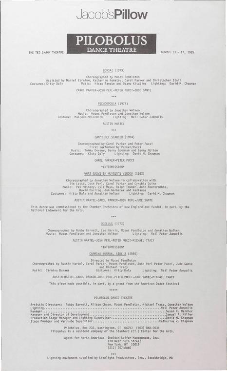 Pilobolus Dance Theatre Performance Program 1985