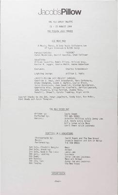 The Pillow Jazz Parade Performance Program 1984