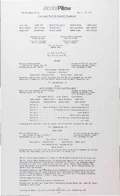 Paul Taylor Dance Company Performance Program 1985
