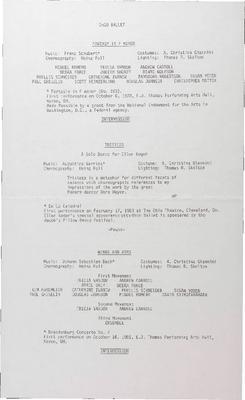 Ohio Ballet Performance Program 1984