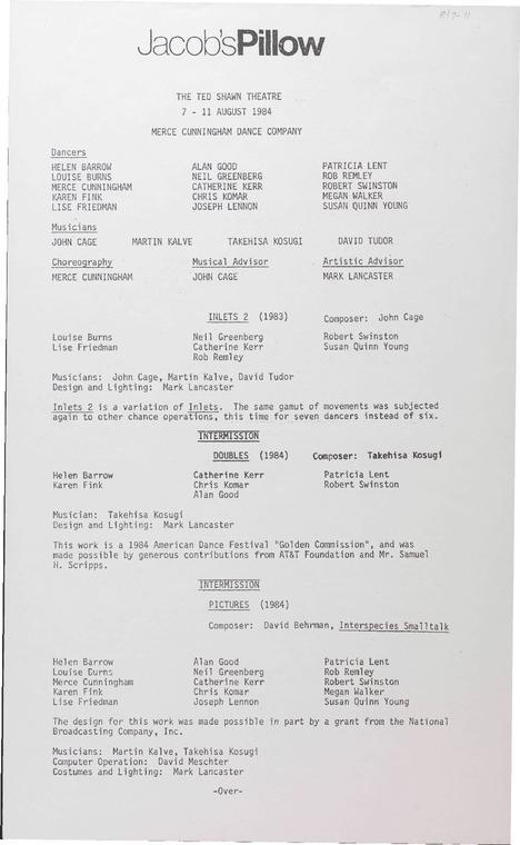 Merce Cunningham Dance Company 1984