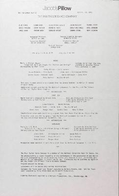 Paul Taylor Dance Company Performance Program 1985
