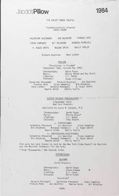 Bucket Dance Theatre Performance Program 1984