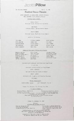 Festival Dance Theatre Performance Program 1985
