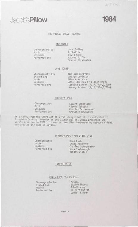 The Pillow Ballet Parade Performance Program 1984