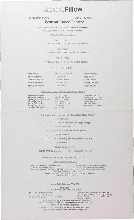 Festival Dance Theatre Performance Program 1985