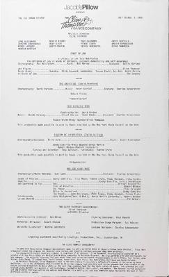 The Clive Thompson Dance Company Performance Program 1985