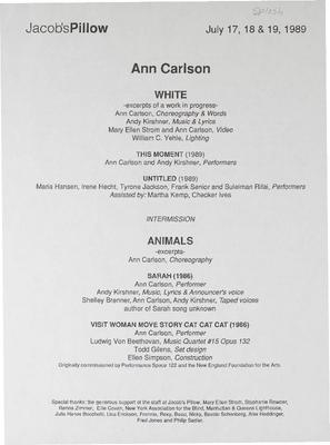 Ann Carlson Performance Program 1989
