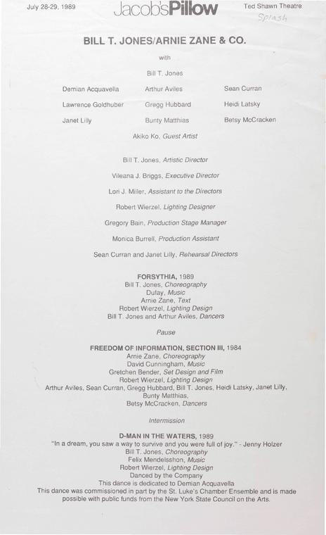 Bill T. Jones/Arnie Zane Dance Company Performance Program