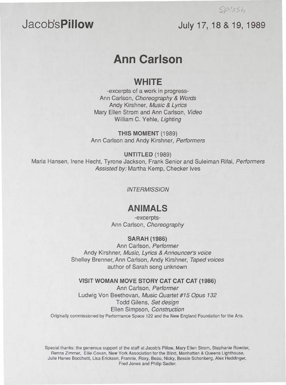 Ann Carlson Performance Program 1989