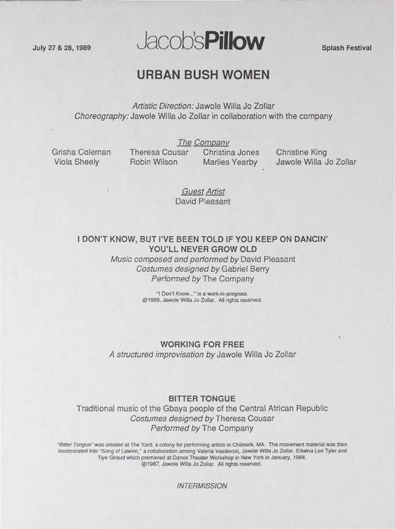 Urban Bush Women Performance Program