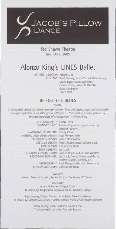 Alonzo King's LINES Ballet Performance Program