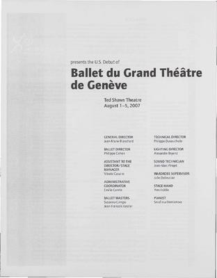 Ballet du Grand Theatre de Geneve Performance Program
