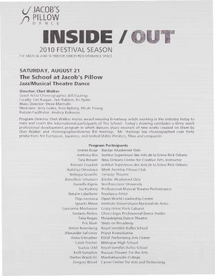Jazz/Musical Theatre Inside/Out Performance Program