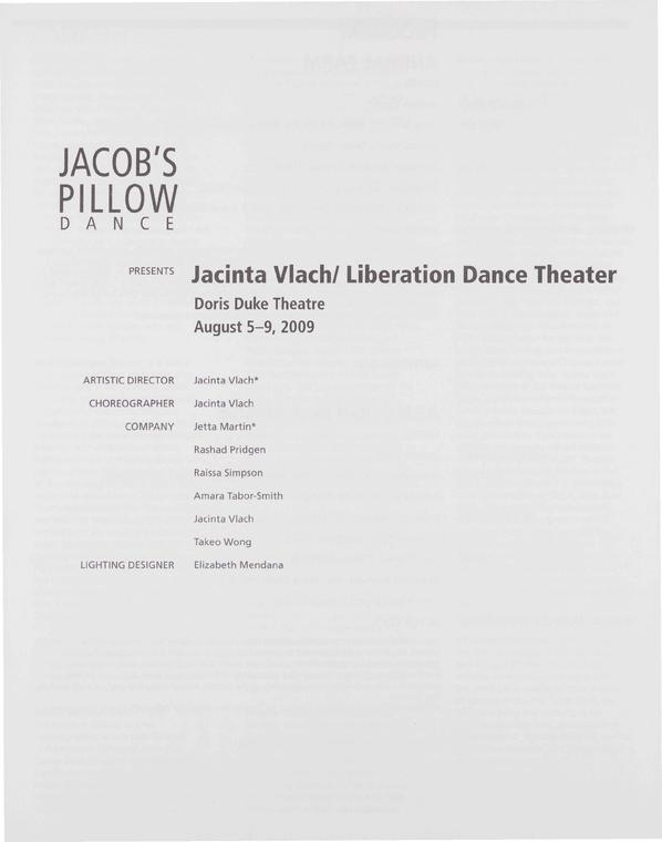 Jacinta Vlach / Liberation Dance Theater Performance Program 2009