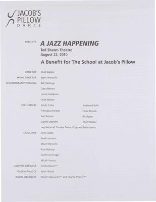 A Jazz Happening Performance Program 2010
