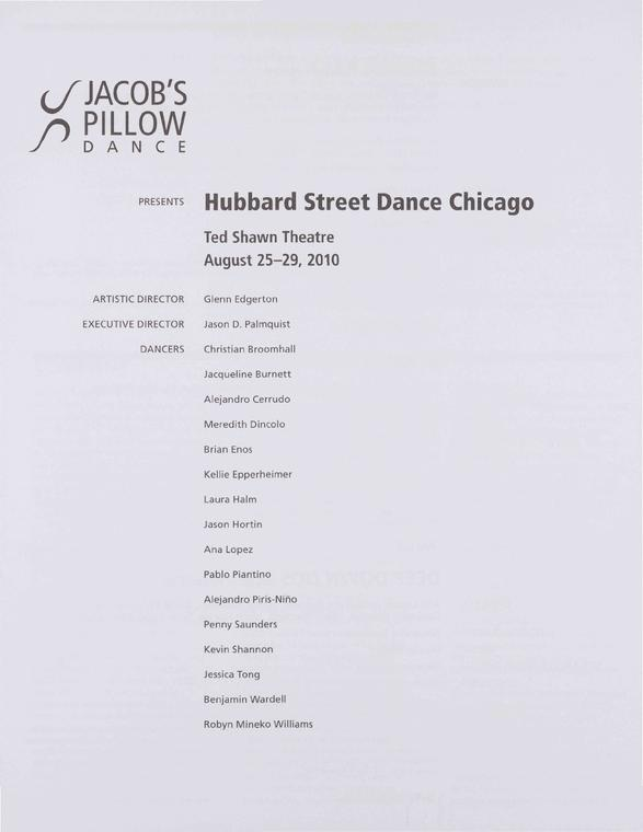 Hubbard Street Dance Chicago Performance Program 2010