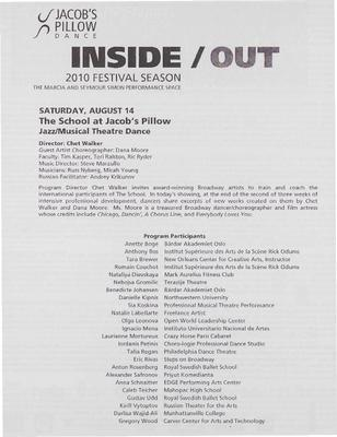 Jazz/Musical Theatre Inside/Out Performance Program 2010
