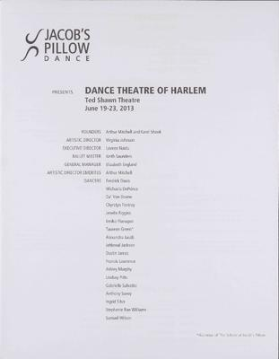 Dance Theatre of Harlem Performance Program 2013