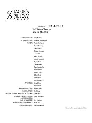 Ballet BC Performance Program 2013