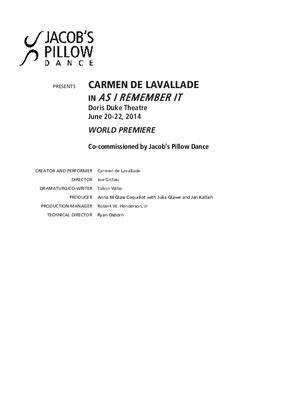Carmen de Lavallade Performance Program 2014