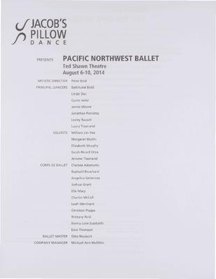 Pacific Northwest Ballet Performance Program 2014