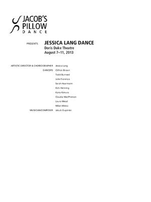 Jessica Lang Dance Performance Program 2013