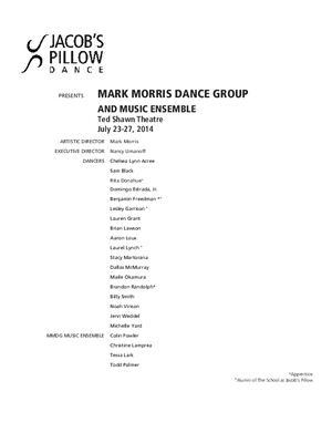Mark Morris Dance Group and Music Ensemble Performance Program