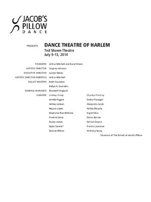 Dance Theatre of Harlem Performance Program 2014